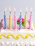 Birthday Candles. Colorful birthday Candles on with birthday cake Royalty Free Stock Photography