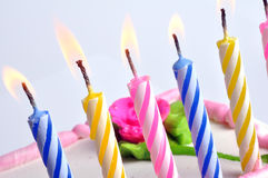 Birthday Candles. Colorful birthday Candles on with birthday cake Royalty Free Stock Images