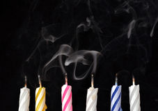 Birthday Candles. On black background Royalty Free Stock Photography