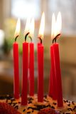 Birthday candles. Red birthday candles, eight year birthday celebration Royalty Free Stock Image