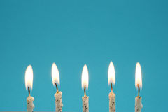 Birthday Candles. With blue background and copy space Stock Images