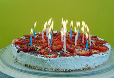 Birthday candles on the cake Royalty Free Stock Photography