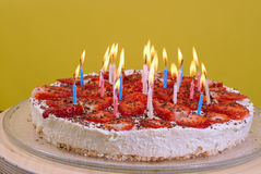 Birthday candles on the cake Stock Photo