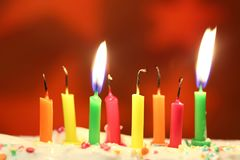 Birthday candles close up royalty free stock photo