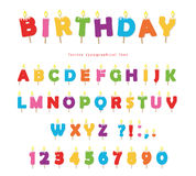 Birthday candles colorful font design. Bright festive ABC letters and numbers isolated on white. Vector Stock Image