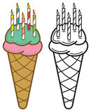 Birthday Candles Ice Cream Cone Stock Image