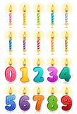 Birthday candles icons set. Vector icon set - colorful birthday candles on white background Royalty Free Stock Photos