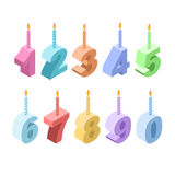 Birthday candles isometric set. 3D festive accessories. Collection of figures for holiday and birthday anniversary royalty free illustration