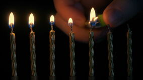 Birthday Candles Are Lit In Row