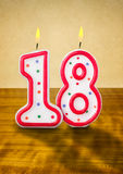 Birthday candles number 18. Burning birthday candles number 18 vector illustration