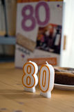Birthday candles number eighty Stock Photo