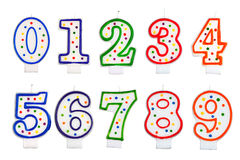 Birthday candles number isolated Royalty Free Stock Photo