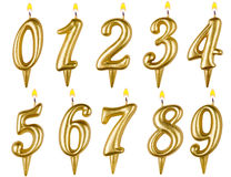 Birthday candles number set isolated on white Stock Photos