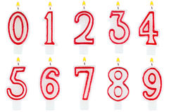Birthday candles number set isolated Stock Photo