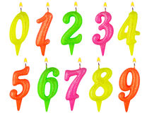 Birthday candles number set isolated Royalty Free Stock Image