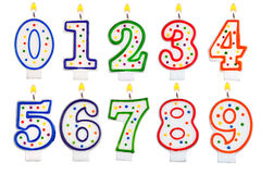 Birthday candles number set isolated on white stock illustration