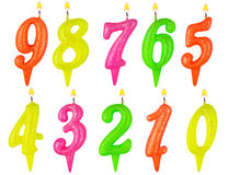 Birthday candles number set isolated Stock Photography