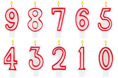 Birthday candles number set isolated Stock Image