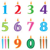 Birthday candles numbers set. Candles numbers cartoon. Royalty Free Stock Photography