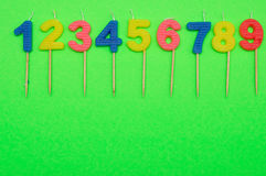 Birthday candles numbers 1 to 9 Stock Image
