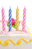 Birthday Candles with path. Colorful birthday Candles with cake on isolated background Royalty Free Stock Photos