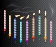 Birthday candles realistic vector illustration on dark transparent background stock illustration