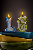 Birthday candles with sixteen Stock Photo