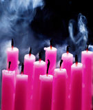 Birthday Candles and Smoke. Close up of birthday candles just after being blown out Royalty Free Stock Images
