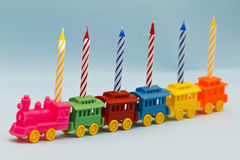 Birthday Candles on Toy Train Stock Images