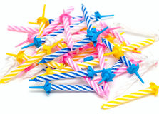 Birthday candles on white background Royalty Free Stock Images