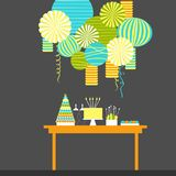 Birthday candy bar with cake. Dessert table and paper lanterns. Vector illustration Royalty Free Stock Images