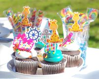 Birthday candy bar. Sweets. Cupcakes. Close up royalty free stock photo