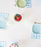 Birthday Candy. Top view of a birthday table with candy Royalty Free Stock Image