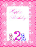 Birthday card. With two dogs and pink background Stock Photo