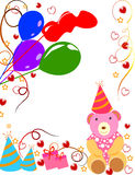 Birthday card. Birthday background with balloons,gifts Stock Photography