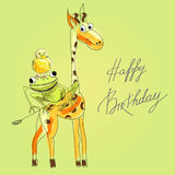 Birthday card. With happy animals Royalty Free Stock Photo