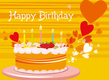 Birthday card. Vector illustration of birthday cake Stock Images