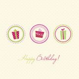 Birthday card. Illustration with polka dot background Stock Images