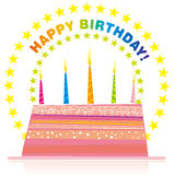 Birthday card. Vector illustration of birthday cake Stock Image