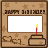 Birthday card. That design in brown color Royalty Free Stock Images