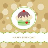 Birthday card. With delicious cupcake Royalty Free Stock Photography