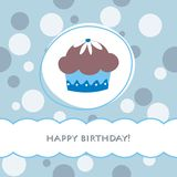 Birthday card. Blue birthday card with muffin Stock Images