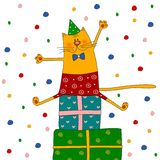 Birthday card. Colorful graphic illustration for children Royalty Free Stock Images