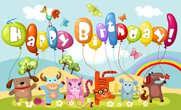 Birthday card. Vector illustration of a cute birthday card stock illustration