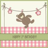 Birthday card. Happy 1st birthday card with Teddy, vector stock illustration