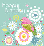 Birthday card. Design with bird & floral stock illustration