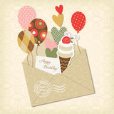 Birthday card. And scrapbooking elements Royalty Free Stock Photography