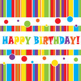 Birthday card. With stripes and colorful vector illustration
