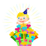 Birthday card. With lovely kid Royalty Free Stock Photography