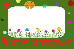 Birthday card. In green frame with colorful flowers Royalty Free Stock Image
